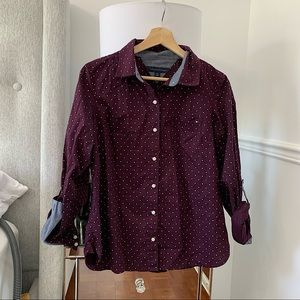 TOMMY HILFIGER   Purple and white polka dot blouse S